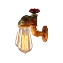 Industrial Faucet Wall Mount Light 2 Heads Iron Wall Lighting Ideas in Rust with Valve Decoration