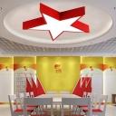Pentacle Ceiling Flush Light Minimalist Metal Bedroom LED Flush Mount Lamp in Red, 14