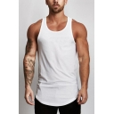 Fancy Men's Training Tank Top Solid Color Crew Neck Sleeveless Regular Fitted Asymmetrical Hem Quick Dry Gym Tank Top