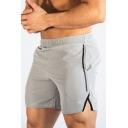 Basic Mens Shorts Contrast Stitching Split Hem Stripe Pattern Elastic Hem Side Pockets Slim Fitted Shorts
