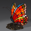 Butterfly Small Table Lamp Single Tiffany Glass Rustic Nightstand Light in Orange