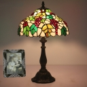 Barn Shaped Night Table Light 1 Head Stained Glass Tiffany Nightstand Lamp with Grape and Leaf Pattern in Green