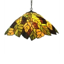 Handcrafted Glass Leafy Hanging Light Kit Rustic Single Yellow Pendulum Light for Dining Room