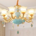 Blossom Dining Room Up Chandelier Traditional Frosted Glass 6/8/15-Head Gold Ceiling Hang Light
