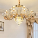 Clear Crystal Cylinder Hanging Pendant Modern 10/12/15 Lights Living Room Ceiling Chandelier