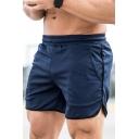 Trendy Mens Shorts Contrast Trim Side Pocket Elastic Waist Split Hem Regular Fitted Shorts