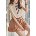 Summer Girls Fancy Bow-Tied Collar Short Sleeve Button Down Chiffon Shirt Blouse