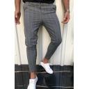 Retro Mens Pants Stripe Pattern Drawstring Waist Ankle Length Skinny Pants