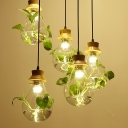 Clear Glass Teardrop Plant Pendant Countryside 3-Bulb Restaurant Ceiling Light in Black/Wood, Round/Linear Canopy