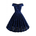 Womens Formal Dress Off the Shoulder Floral All-over Print Midi Pleated Flared Dress