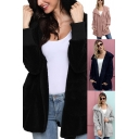 Stylish Womens Cardigan Solid Color Fuzzy Long Sleeve Hooded Loose Fit Cardigan