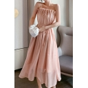 Fancy Women's A-Line Dress Spaghetti Strap Solid Color Square Neck Sleeveless Drawstring Waist Pleated Detail Double Layered Midi A-Line Dress