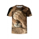 Trendy Boys Tee Top 3D Lion Print Short Sleeve Crew Neck Fitted T Shirt