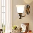 1/2-Head Bell Wall Lamp Fixture Traditional Brass White Glass Wall Mounted Light Fixture