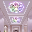 3/5w Modern LED Flush Mount Lamp Clear Flower Ceiling Fixture with Crystal Shade, Warm/White/Multi-Color Light
