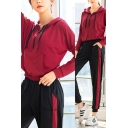 Leisure Womens Co-ords Long Sleeve Hoodie Crop Tank Tee Top Contrasted Pants Co-ords
