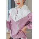 Popular Womens Jacket Colorblock Long Sleeve Zip Up Drawstring Relaxed Jacket