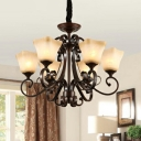 Bell Shaped Bedroom Chandelier Rural White Glass 8/10/12-Light Copper Ceiling Pendant with Scroll Arm