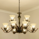 Vintage Flared Chandelier Lighting 3/6/12 Heads Frosted White Glass Suspension Lamp in Black