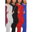 Casual Womens Set Plain Long Sleeve Crew Neck Irregular Hem Relaxed T-shirt & Pants Set