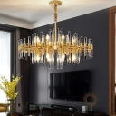 Fluted Crystal Radial Chandelier Post-Modern 10/12/16-Head Gold Hanging Ceiling Light for Living Room