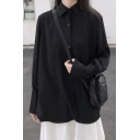 Basic Women's Shirt Plain Button Closure Point Collar Long Bishop Sleeves Relaxed Fit Shirt