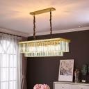 2-Tier K9 Crystal Pendant Lamp Postmodern Black/Gold Finish LED Hanging Island Light, 23.5