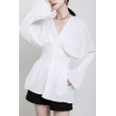 Unique Women's Blouse Plain Pleated Detail V Neck Long Flare Cuff Sleeves Banded Waist Slim Fitted Shirt Blouse