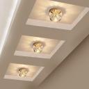 Cut Crystal Ball Mini Ceiling Flush Mount Modern Integrated LED Flushmount Lighting in Black/Gold/Chrome