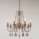 3/6/8 Lights Wood Ceiling Pendant Farmhouse Distressed White Candlestick Living Room Chandelier Lamp