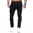 Stylish Mens Pants Solid Color Panelled Pleated Detail Drawstring Waist Skinny Long Pants
