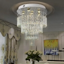 4-Tier Dining Room Ceiling Mount Lamp Modern Crystal Draping 6 Heads Stainless Steel Flush Light
