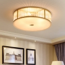 Drum Crystal Flush Mount Ceiling Light Minimalist 4/5/6 Lights Bedroom Flushmount in Gold