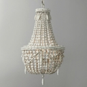 3 Lights Chandelier Pendant Vintage Basket Wooden Suspended Lighting Fixture in Grey/White