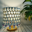 1 Light Nightstand Light Bohemia Living Room Table Lamp with Barrel Rope Shade in Yellow