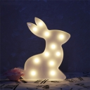 Pink/White Rabbit LED Night Light Cartoon Plastic Battery Powered Wall Night Lamp for Bedroom