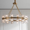 Crystal Ice Cube Hanging Pendant Post-Modern Style 6/12/28 Lights Bedroom Chandelier in Gold
