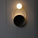Black and Brass Planetary Wall Lamp Novelty Minimalist Single Milk Ball Glass Wall Mounted Light