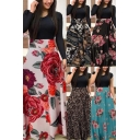 Fancy Women's A-Line Dress Floral Graphic Leopard Pattern Patchwork Contrast Panel Round Neck Long-sleeved Regular Fitted A-Line Dress