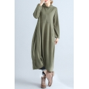 Fancy Women's Swing Dress Tiered Detail Solid Color Side Pockets Cowl Neck Long Sleeves Relaxed Fit Long Swing Dress