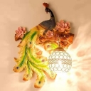Rustic Peacock Blossom Wall Sconce 1-Light Resin Left/Right Wall Mounted Lighting in Green/Gold with Crystal Shade