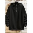 Trendy Mens Hoodie Solid Color 1/4 Zip Collar Ribbed Trim Long-sleeved Regular Fitted Hooded Sweatshirt