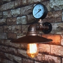 Rust Saucer Shade Wall Lamp Industrial Metal 1 Bulb Kitchen Wall Sconce with Water Gauge Deco