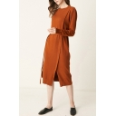 Fancy Women's Sweater Dress Solid Color Panel Front Split Long-sleeved Round Neck Slim Fitted Sweater Dress with Belt