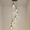 Modern 6 Heads Cluster Pendant Black Diamond Hanging Ceiling Light with Metal Shade