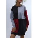 Womens Trendy Color Block Long Sleeve Crew Neck Long Loose Fit Pullover Sweatshirt in Red