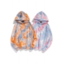 Elegant Men's Hoodie Front Big Pockets Tie Dye Printed Long Sleeves Regular Fitted Drawstring Hooded Sweatshirt