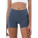 Solid Color High Waist Skinny Biker Shorts for Bodybuilding Girls