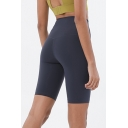 Training Girls Solid Color High Rise Tight Running Shorts