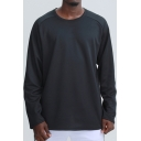 Novelty Mens Fitness Sweatshirt Plain Split Hem Long Sleeve Relaxed Fitted Round Neck Sweatshirt